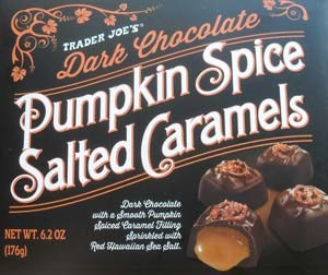 Trader Joe's Dark Chocolate Pumpkin Spice Salted Caramels | chocolateenmasse.com