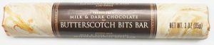 Image: Package of Trader Joe's Milk & Dark Chocolate Butterscotch Bits Bar